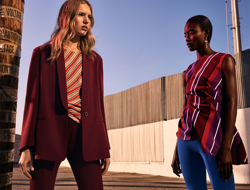 (Left) Zara Blazer with Tuxedo Collar, Striped Top and Skinny Suit Trousers (Right) Zara Draped Striped Top, Fuseau Leggings and Golden Earrings