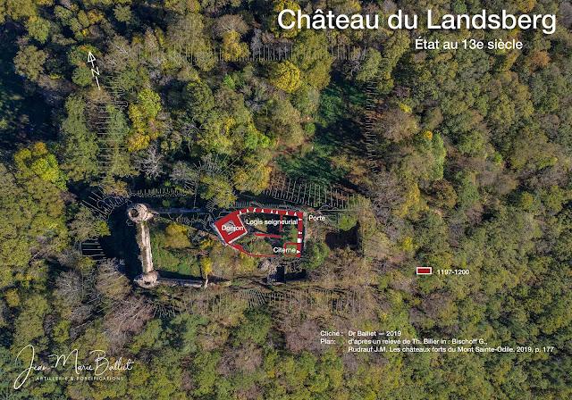 Château du Landsberg — Vue d'apex et plan, état du 13e s.