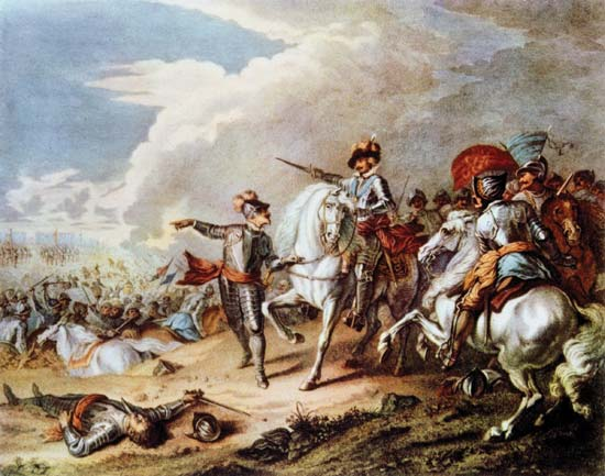 The victory of the Parliamentarian New Model Army, under Sir Thomas Fairfax and Oliver Cromwell, over the Royalist army, commanded by Prince Rupert, at the Battle of Naseby (June 14, 1645)