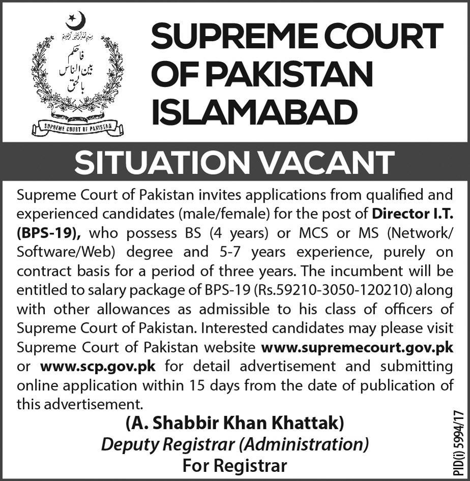 Supreme Court Of Pakistan Islamabad Jobs 2018
