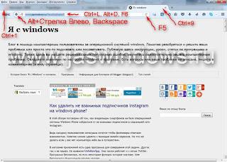 Горячие клавиши в браузерах.