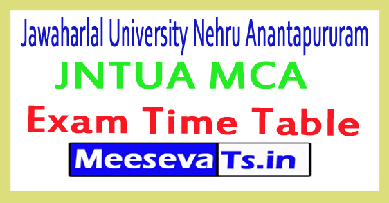 Jawaharlal University Nehru Anantapururam JNTUA MCA  Exam Time Table