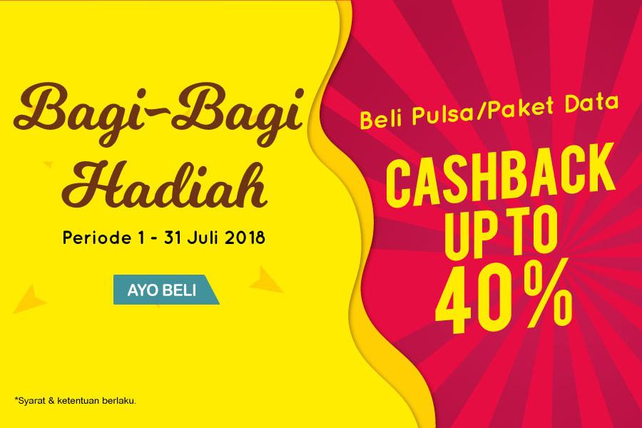 Indomaret - Beli Pulsa di KlikIndomaret Bisa Dapat Cashback 40 % (s.d 30 Juli 2018)