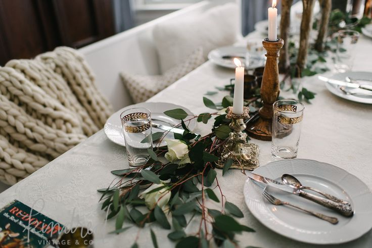Tablescape in romantic Farmhouse Christmas holiday decorating shabby chic