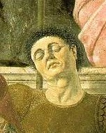 Della Francesca's assumed self- portrait in his Ressurrection