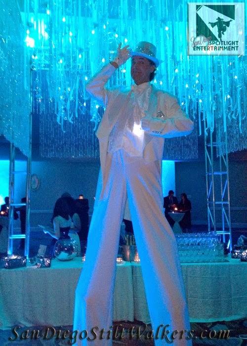 San Diego stilt walker champagne white tux
