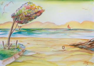 Recherche de couleurs pour un paysage marin ©Guillaume Néel