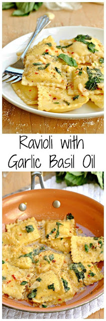 Ravioli with Garlic Basil Oil