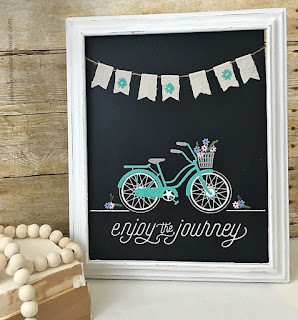 Vintage Paint and more... Enjoy the ride transfer done on a chalk board in a thrift store frame