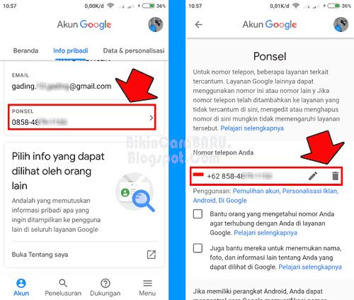 Cara Mengganti Nomor Telepon Gmail Lewat Hp Android Update Bikin Cara Baru