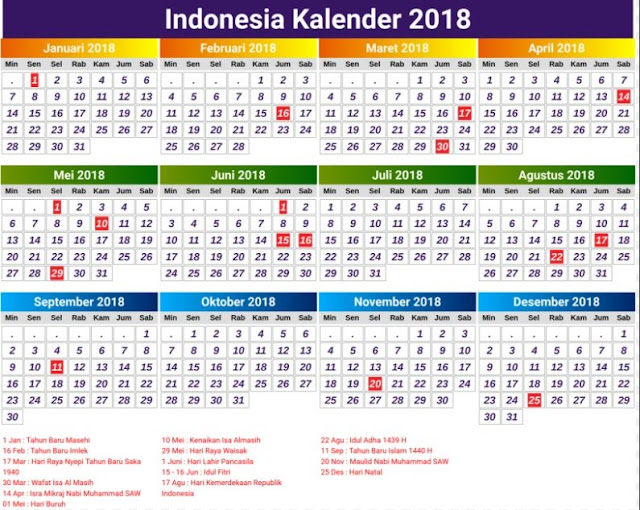 tanggalan 2018 kalendar indonesia