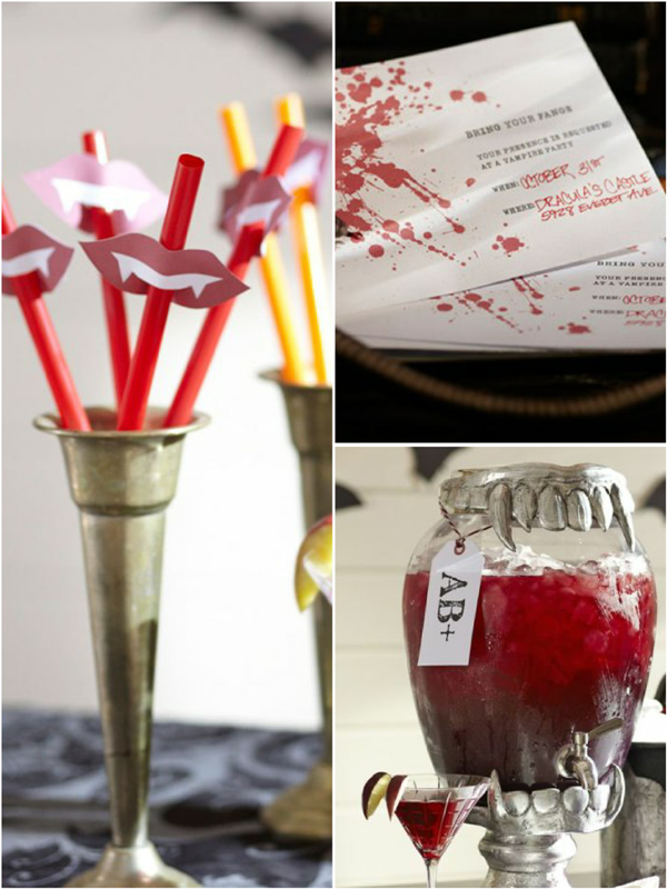 Free Vampire Themed Halloween Party Printables - via BirdsParty.com
