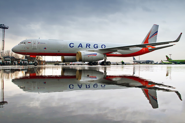 Transaero Cargo Tupolev Tu-204 Mirroring on Water