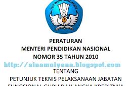 Permendiknas No 35 [Tahun] 2010  (Tentang) Petunjuk Teknis Pelaksanaan Jabatan Fungsional Guru & ANGKA KREDITNYA