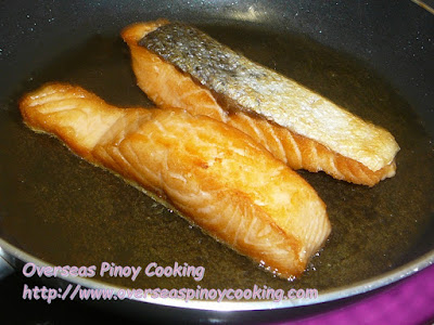 Fried Salmon Pinoy Bistek Style - Cooking Procedure