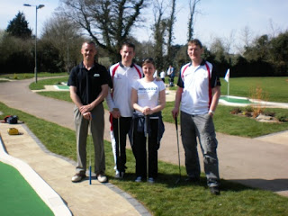 Tony Cook, Richard Gottfried, Emily Gottfried & Chris Harding at Basingstoke Golf Centre's new Minigolf Course