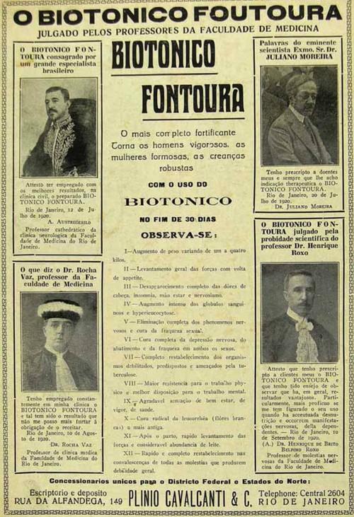 Propaganda antiga do Biotônico Fontoura de 1923 com testemunhais de vários médicos