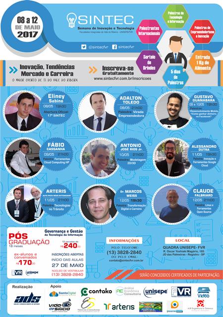 Inscrições abertas para a 17º Semana de Inovação e Tecnologia (SINTEC)