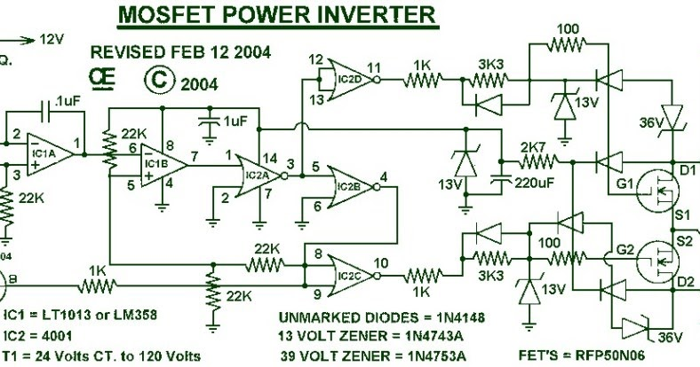 Electronic Circuits Diagram 1000W Power Inverter Circuit Diagram