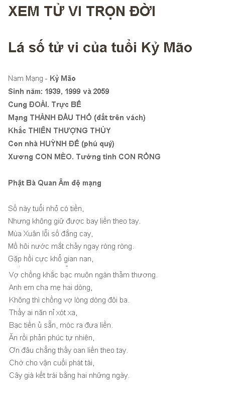 TU VI TRON DOI KY MAO 1999