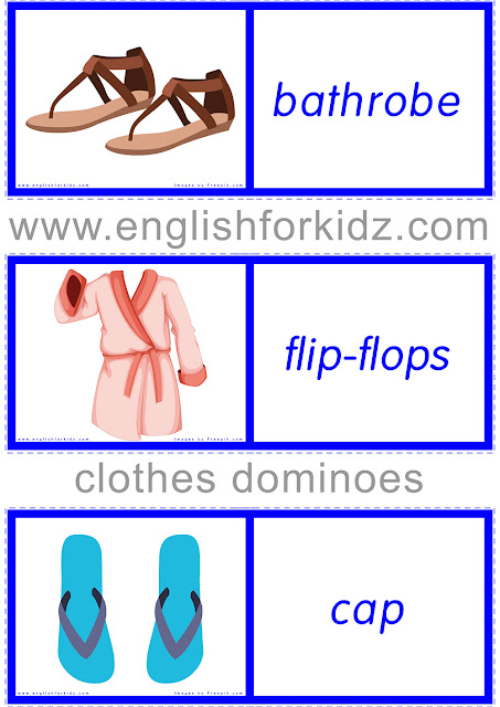 English learning game for ESL and EFL students - clothes dominoes