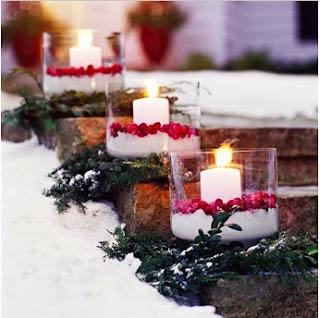imágenes de navidad para iluminar la casa, decoraciones navideñas con velas