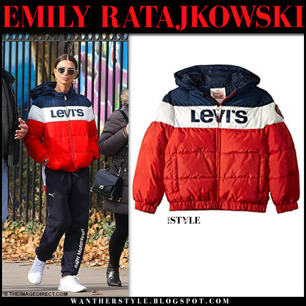 Emily Ratajkowski in red, white and blue striped levi's puffer jacket and puma bmw motorsport sweatpants casual model outfit december 1