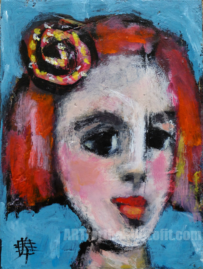Lulu - contemporary portrait painting by Joanie Springer