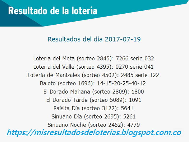 Como jugo la lotería anoche - Resultados diarios de la lotería y el chance - resultados del dia 19-07-2017