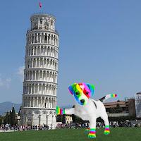 El perro arcoíris sonríe en Cice posando en la típica foto en la Torre de Pisa