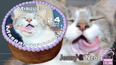 Tarta personalizada impresión comestible sin fondant gato miau Laia's Cupcakes Puerto Sagunto
