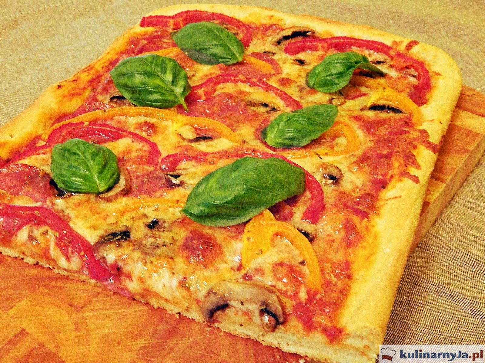 Domowa pizza z salami, pieczarkami i papryką