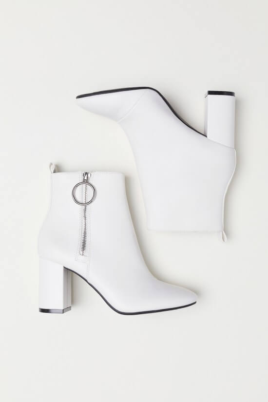 H&M white ankle boots with zipper