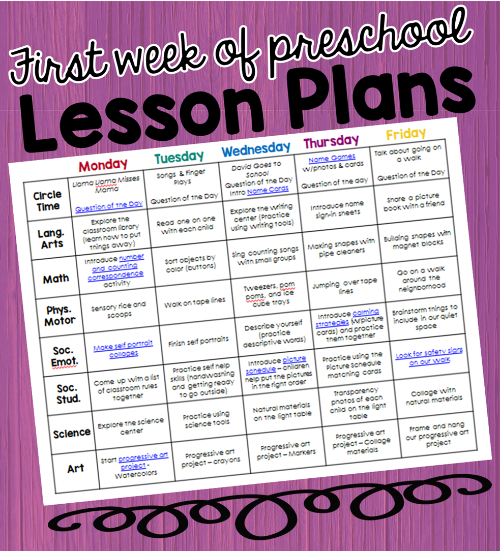 Preschool Ponderings: My lesson plans for the first week ...