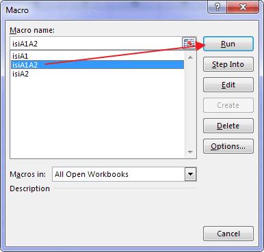 Cara menjalankan sub procedure dari kotak dialog macro excel