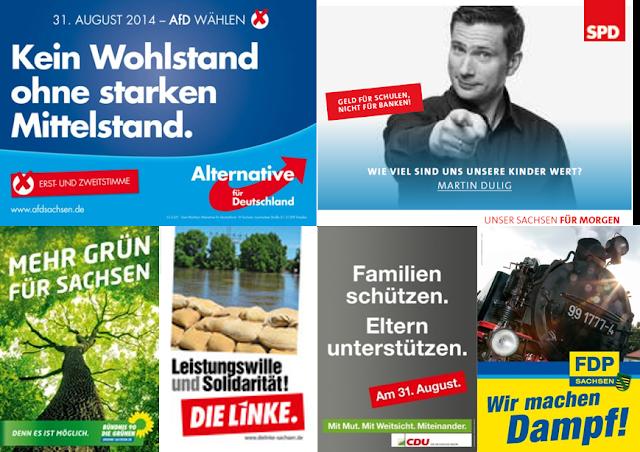 Plakate von AfD, SPD, Grüne, Linke, CDU und FDP