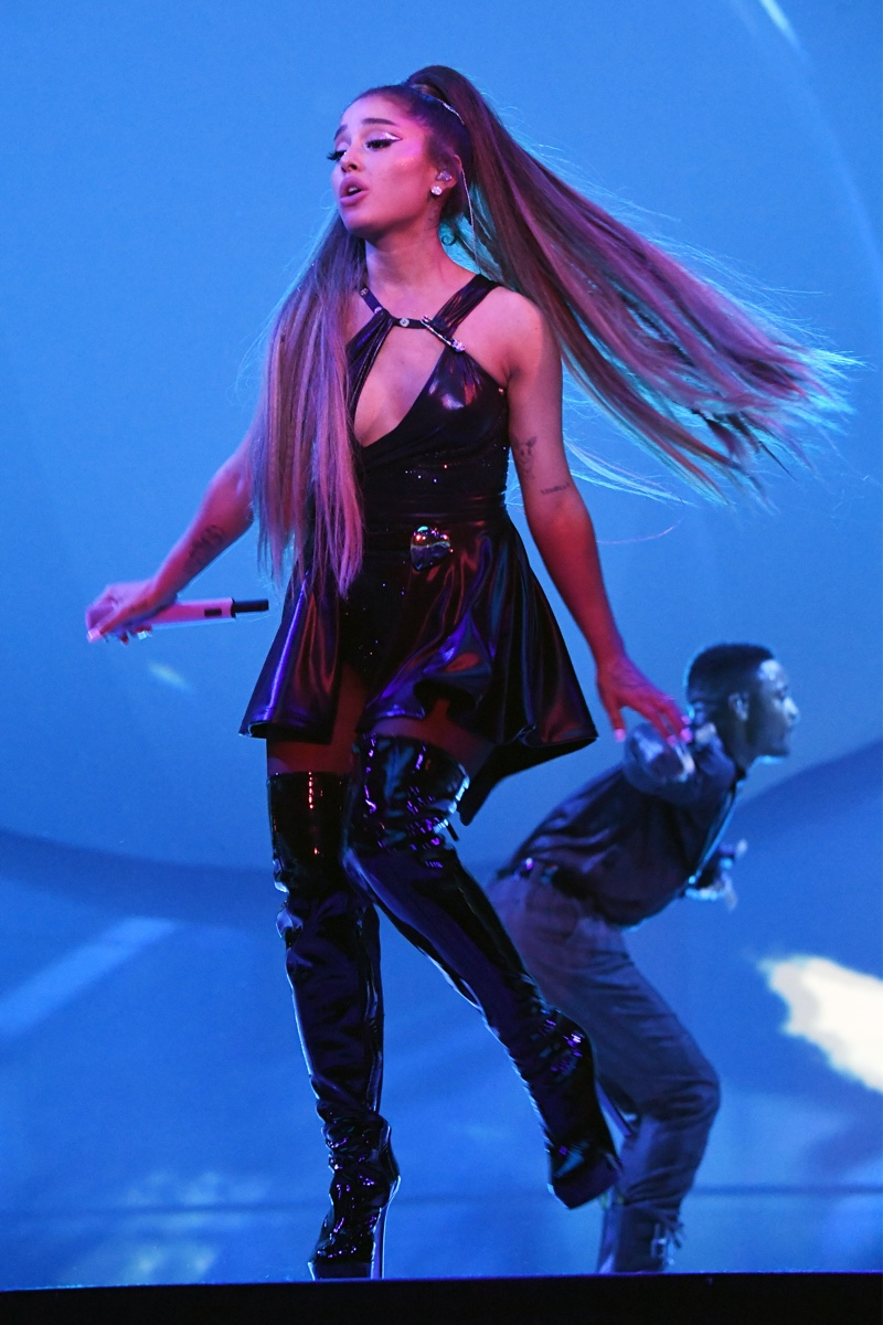 Ariana Grande in custom-made Versace looks for the opening night of the Sweetener World Tour