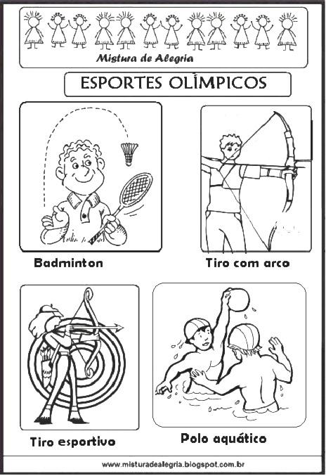 Muito ESPORTES OLÍMPICOS PARA COLORIR, OLIMPÍADA 2016-Mistura de Alegria XV65