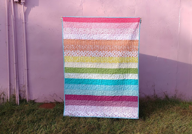 Rainbow fabric quilt back