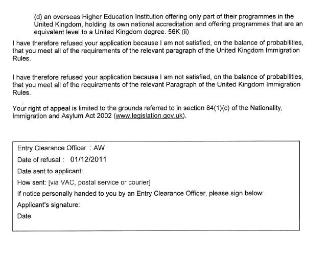 UK VISAS: Visa Refusals