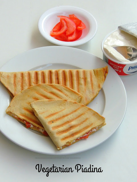 Vegetarian Piadina, Tomato & cheese piadina