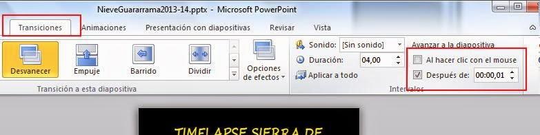 poner transicion automática en power point
