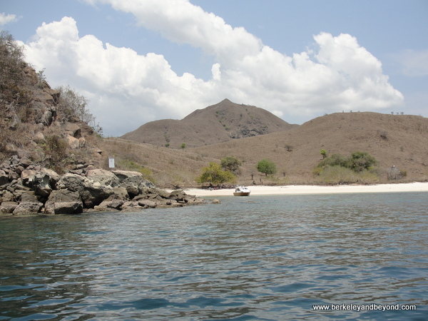 approaching Pink Beach near Komodo Island in Indonesia
