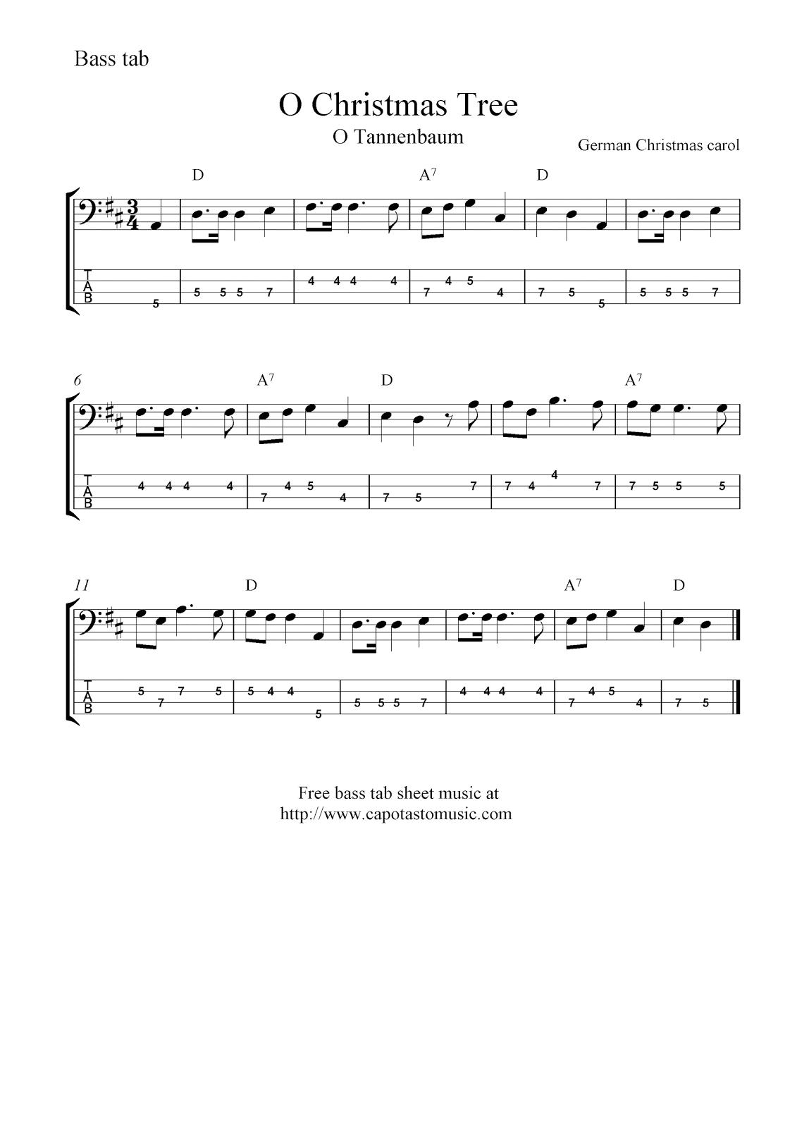 O Christmas Tree (O Tannenbaum), free Christmas bass tab sheet music ...