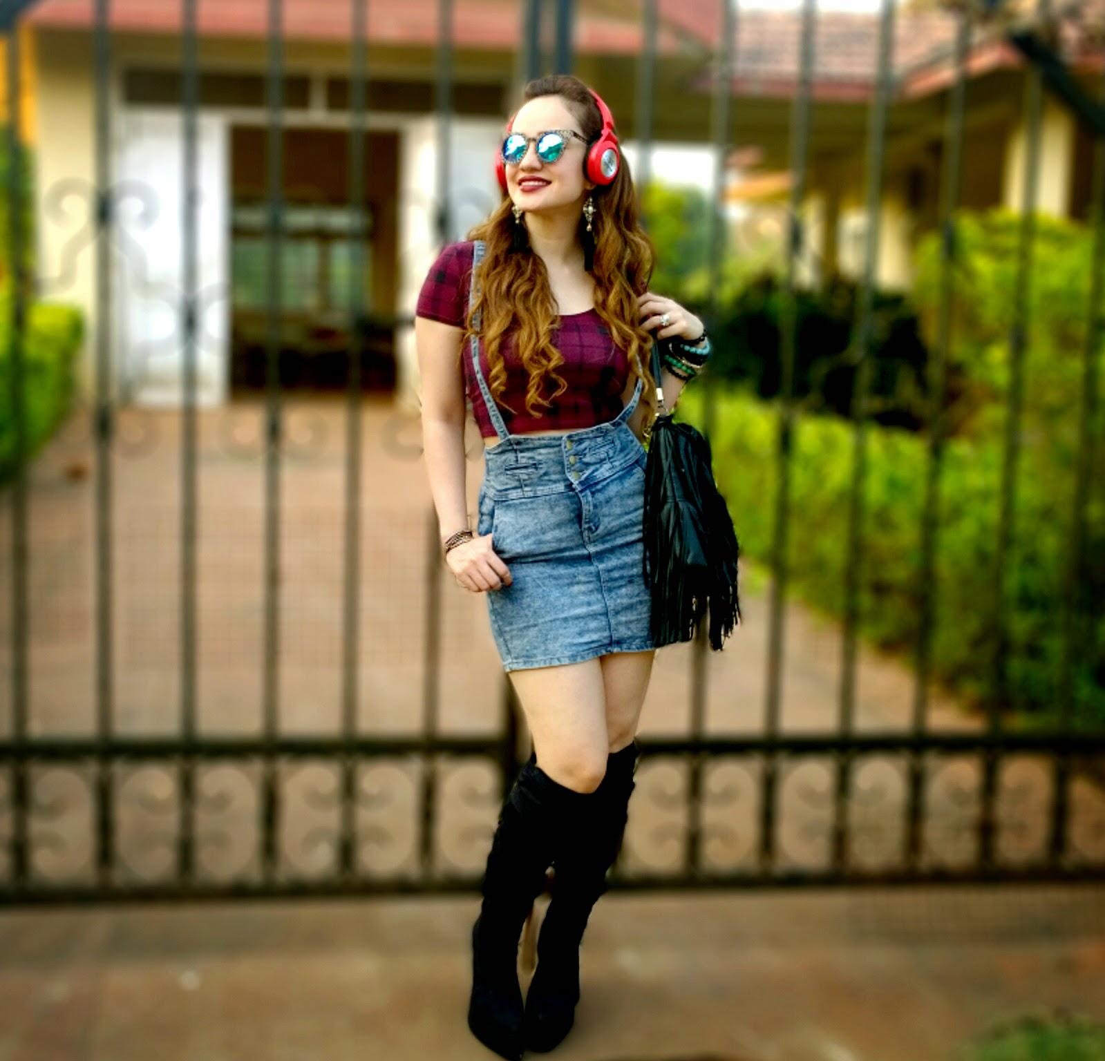 Tartan Plaid Crop Top,Denim Suspender Skirt,Ankle boots,JBL Wireless Headphones