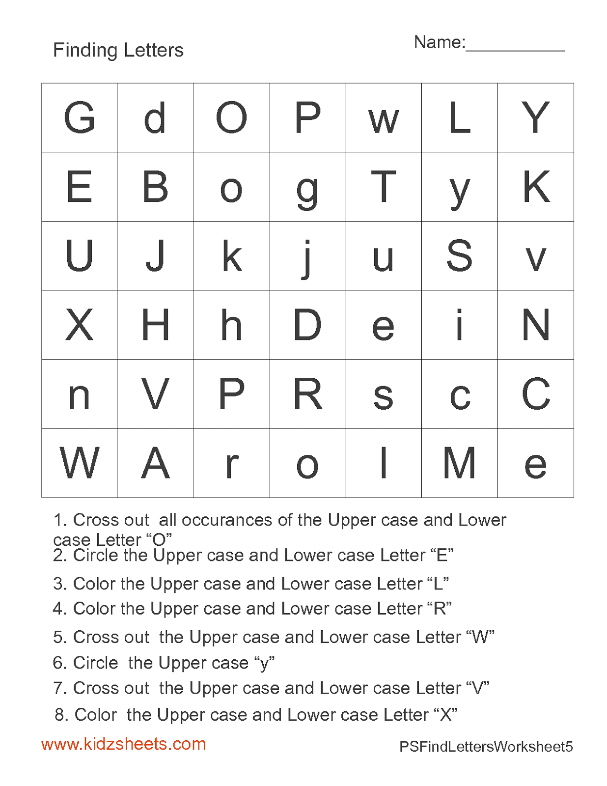 Kidz Worksheets Preschool Find Letters Worksheet5