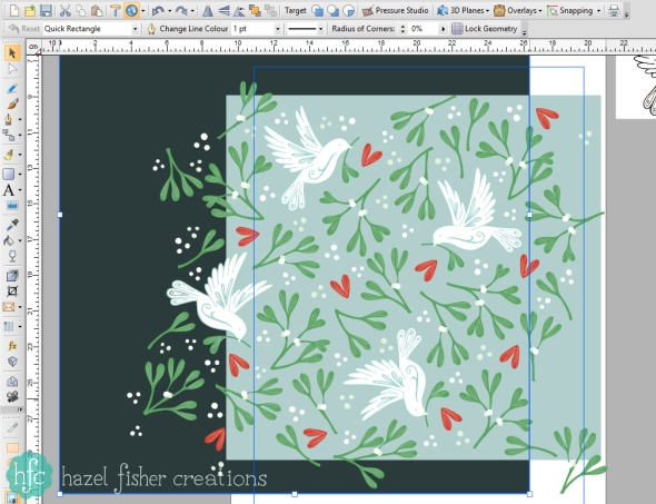 Spoonflower Ditsy Mistletoe design challenge - my Mistletoe and Dove design, work in progress vector pattern design made in Serif Drawplus by Hazel Fisher Creations
