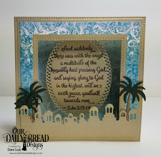 Our Daily Bread Designs Stamp Set:  Christmas Card Scriptures, Custom Dies: Diorama with Layers,  Bethlehem, Ornate Ovals, Paper Collection: Christmas 2014