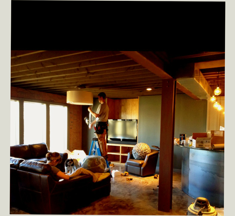 basement man cave decorating ideas with big lamp strong woods and