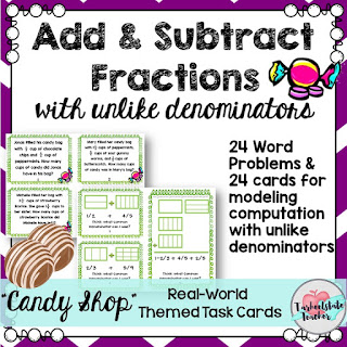 Subtracting Fractions with Unlike denominators task cards word problems